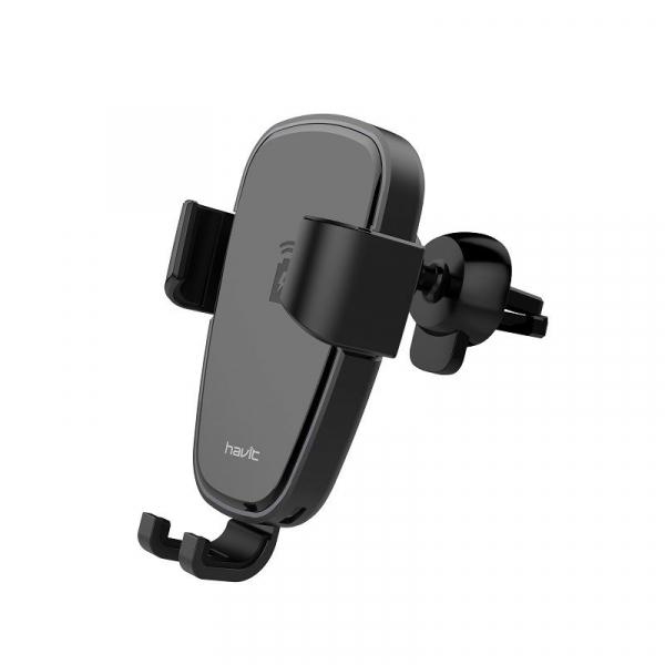 Suport & Incarcator wireless auto Havit pentru telefoane, aliaj aluminiu si ABS, QI, inel LED 2