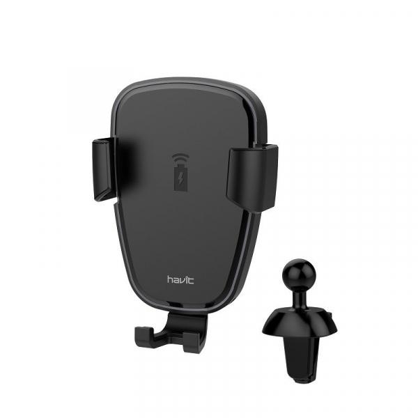 Suport & Incarcator wireless auto Havit pentru telefoane, aliaj aluminiu si ABS, QI, inel LED 4