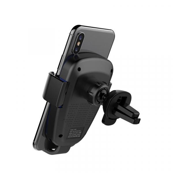 Suport & Incarcator wireless auto Havit pentru telefoane, aliaj aluminiu si ABS, QI, inel LED 5