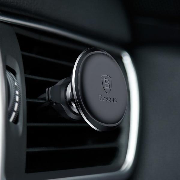 Suport auto magnetic Baseus, rotatie 360 grade, organizator cabluri, prindere in grila ventilatie, negru 4