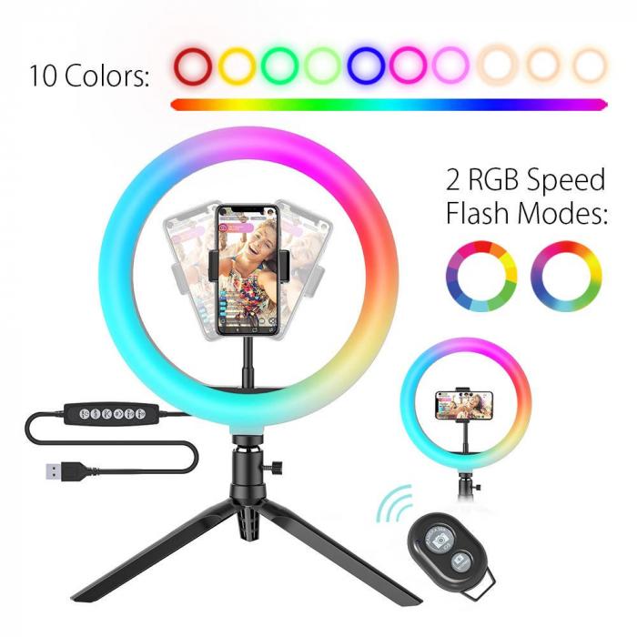 Suport telefon Blitzwolf BW-SL5, desktop Flash LED, inel RGB, 3000-6000K, 400Lm, 10'' [4]
