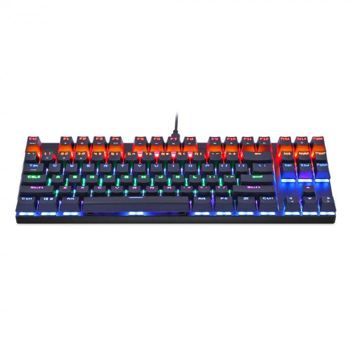 Tastatura mecanica gaming Motospeed K83 cu bluetooth & iluminare RGB, OUTEMU Blue 2