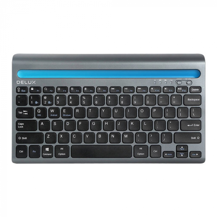 Tastatura wireless Delux K2201V dual mode Bluetooth/Wi-Fi, 180mAh, Negru [0]