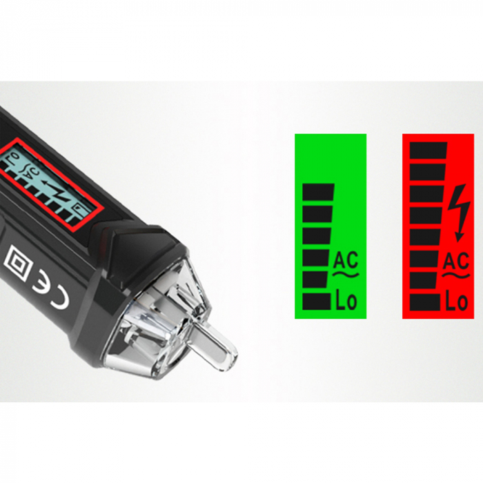Detector fara contact de tensiune si tester faza Habotest HT100P, display LCD, detectie cabluri intrerupte, lumina LED, masurare voltaj 12-1000V [4]