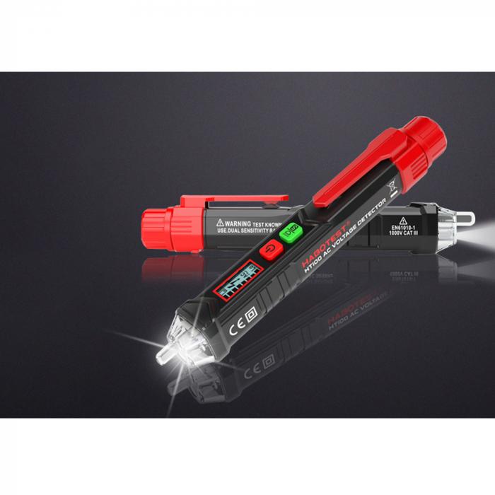 Detector fara contact de tensiune si tester faza Habotest HT100P, display LCD, detectie cabluri intrerupte, lumina LED, masurare voltaj 12-1000V [5]