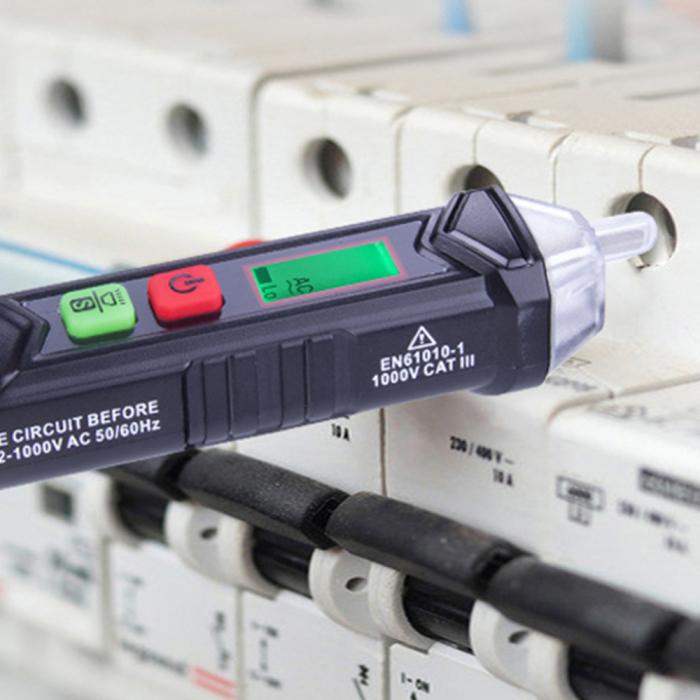Detector fara contact de tensiune si tester faza Habotest HT100P, display LCD, detectie cabluri intrerupte, lumina LED, masurare voltaj 12-1000V [3]