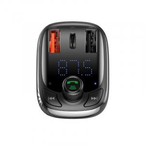 Incarcator si modulator FM Baseus, bluetooth 5.0, incarcare QC 3.0, type-C QC 4.0 & PD, afisaj LED, 2 x USB, slot micro SD1