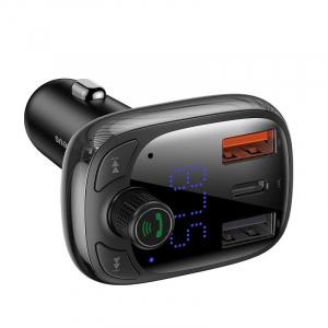 Incarcator si modulator FM Baseus, bluetooth 5.0, incarcare QC 3.0, type-C QC 4.0 & PD, afisaj LED, 2 x USB, slot micro SD2