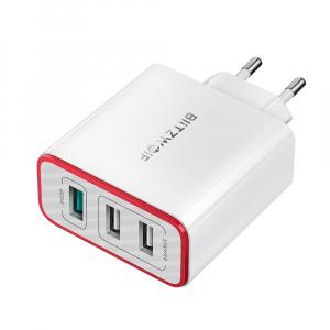 Incarcator telefon Blitzwolf PL2, 30W, 1 port 3A Quick Charge 3.0 plus 2 porturi USB cu Spower 2.4A, EU, alb1