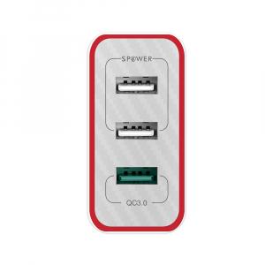 Incarcator telefon Blitzwolf PL2, 30W, 1 port 3A Quick Charge 3.0 plus 2 porturi USB cu Spower 2.4A, EU, alb2