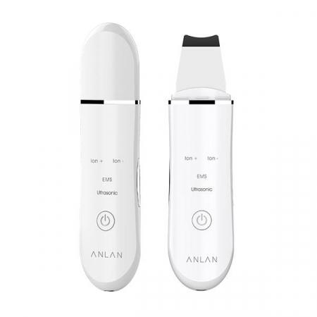 Aparat curatare faciala Anlan Scrubber Ultrasonic ionic, peeling, masaj EMS, hidratare, 24000 vibratii/secunda, alb0