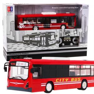 Autobuz RC cu telecomanda Double Eagle, scala 1:20, rosu, 5.5Km/h, lumini fata/spate, sunete demo, usi automate1