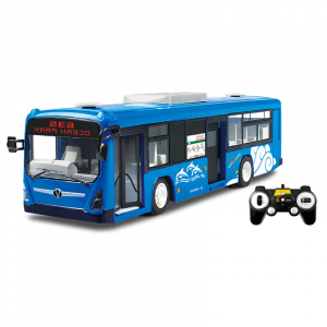 Autobuz de jucarie RC cu telecomanda Double Eagle, albastru, 5.5Km/h, lumini fata/spate, sunete demo, usi automate0