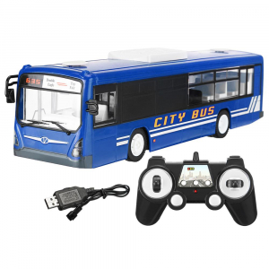 Autobuz de jucarie RC cu telecomanda Double Eagle, albastru, 5.5Km/h, lumini fata/spate, sunete demo, usi automate3