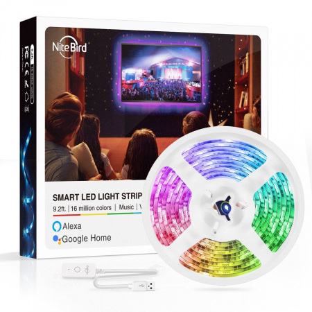 Banda LED smart RGB Gosund SL1 NiteBird, 2.8 metri, WiFi, compatibila ecosistem Smart Life, Google Home, Alexa0