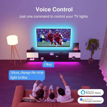 Banda LED smart RGB Gosund SL2, 5 metri, WiFi, compatibila ecosistem Smart Life, Google Home, Alexa3