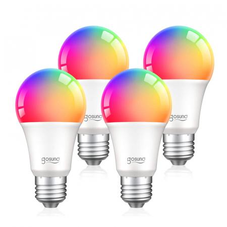 Bec LED smart Gosund, 16 milioane culori, WiFi 2.4Ghz, 8W, E27, 800 lumeni, compatibil Smart Life, Google Home & Alexa1