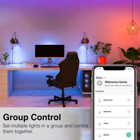 Bec LED smart Gosund, 16 milioane culori, WiFi 2.4Ghz, 8W, E27, 800 lumeni, compatibil Smart Life, Google Home & Alexa [2]