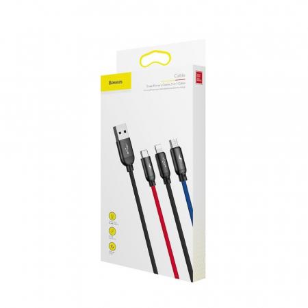Cablu Baseus Rapid 3 in 1 USB-C, lightning, micro-USB 3A, 1.2M, negru [4]