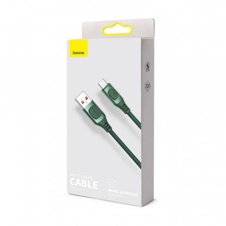Cablu de incarcare Baseus Quick Charge USB-C, Huawei SCP, Samsung AFC, 5A, 2m, QC3.0, verde4