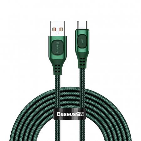 Cablu de incarcare Baseus Quick Charge USB-C, Huawei SCP, Samsung AFC, 5A, 2m, QC3.0, verde0