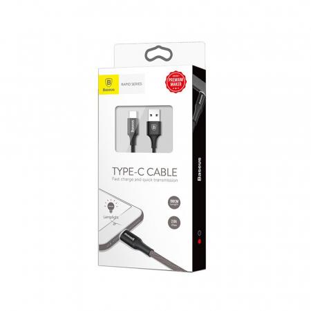 Cablu incarcare Baseus Rapid USB-C LED, invelis textil 2 metri, 2A, 480 Mb/s, negru [4]