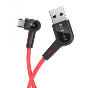 Cablu incarcare Blitzwolf AC1, USB-C, 5V 3A, 1.8 metri lungime, 22AWG power + 30 AWG Data, rosu0
