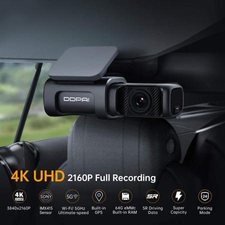 Camera auto DVR DDPAI Mini 5, rezolutie 4K SONY IMX415, WiFi 5Ghz, ADAS, stocare interna eMMc 64GB, GPS integrat, asistent  AI [3]
