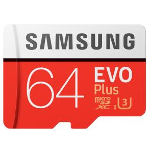 Card de memorie Samsung Micro-SDXC, EVO Plus 64GB, 100 MB/s, Clasa 10, UHS-I U3, adaptor SD inclus0