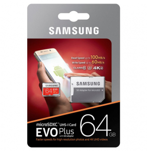 Card de memorie Samsung Micro-SDXC, EVO Plus 64GB, 100 MB/s, Clasa 10, UHS-I U3, adaptor SD inclus2