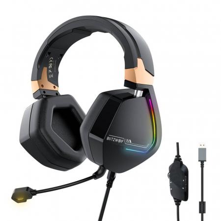 Casti Gaming Blitzwolf BW-GH2, 7.1, difuzor 53mm, LED RGB, compatibil Playstation, XBox, Nintendo [0]