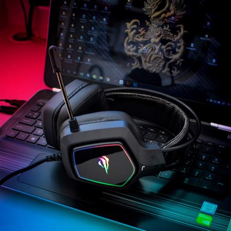 Casti gaming Havit Gamenote H656d, iluminat RGB, difuzoare 50mm, audio 3.5mm + USB, cablu 2.2 metri, microfon, compatibile PS4 / PS5 [5]