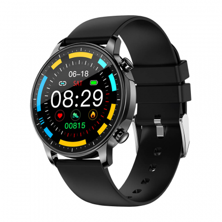 Smartwatch Colmi V23 Pro, masurare ritm cardiac, temperatura, SP02, activitati sportive, ecran 1.28″ TFT, bluetooth 5.0, negru [0]