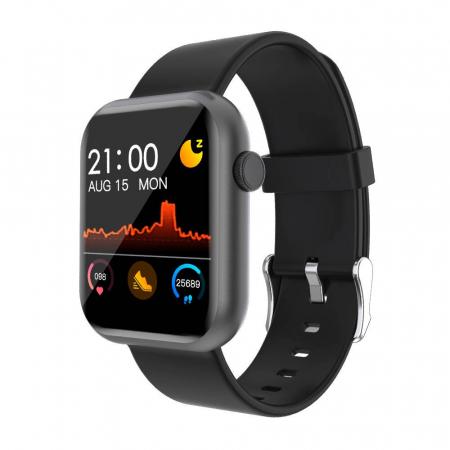 Smartwatch Colmi P9, 210 mAh pana la 10 zile autonomie, senzor HR, notificari, monitorizare nivel oxigen din sange, somn, IP67, negru0