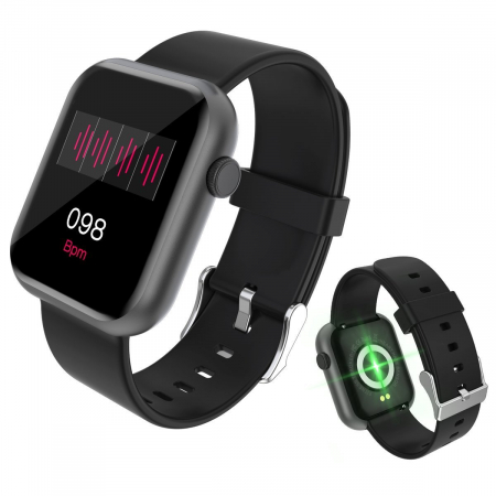 Smartwatch Colmi P9, 210 mAh pana la 10 zile autonomie, senzor HR, notificari, monitorizare nivel oxigen din sange, somn, IP67, negru1