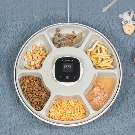 Dispenser de hrana smart Petoneer NutriSpin, 6 compartimente, display TFT, programabil, USB-C, compatibil Tuya/Smart Life [1]