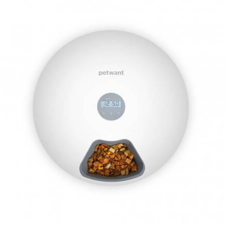 Hranitor automat catei sau pisici PetWant F6, hrana umeda sau uscata, programabil, display LCD, 180ml x 6 compartimente, alb2