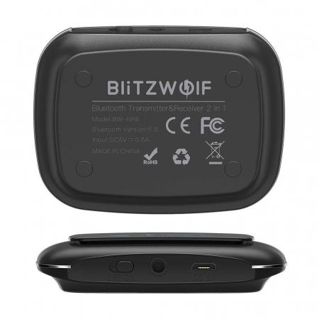 Emitator & receiver BlitzWolf BW-BR6, Bluetooth 5.0, aptX, SBC, AAC, display OLED, port audio 3.5mm, 500mAh [2]