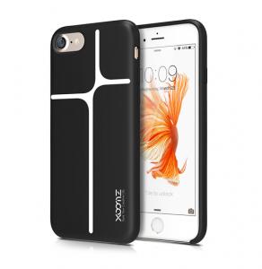 Husa XOOMZ protectie spate pentru iPhone 7/8 cu model geometric din silicon lichid, neagra0