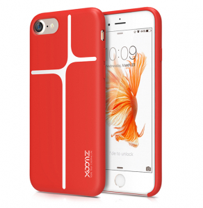 Husa XOOMZ protectie spate pentru iPhone 7/8 cu model geometric din silicon lichid, rosu0