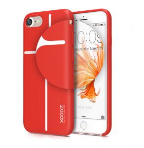 Husa XOOMZ protectie spate pentru iPhone 7/8 cu model geometric din silicon lichid, rosu2