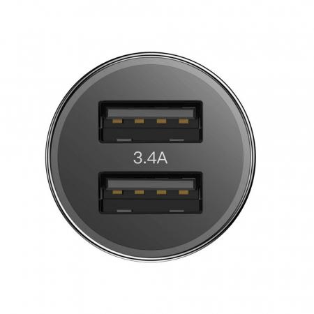 Incarcator auto rapid Baseus + cablu USB-C, 2 USB, 3.4 A, Negru [2]