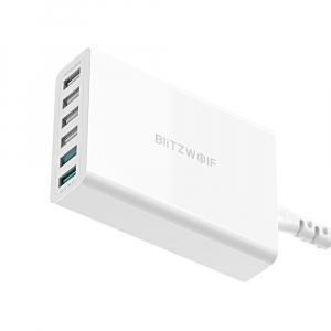 Incarcator rapid Blitzwolf BW-S15, 6 x USB, Dual Qualcomm Quick Charge 3.0, 60W, cablu 150cm, adaptor EU0