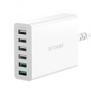 Incarcator rapid Blitzwolf BW-S15, 6 x USB, Dual Qualcomm Quick Charge 3.0, 60W, cablu 150cm, adaptor EU1