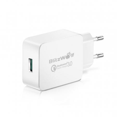 Incarcator de retea USB Blitzwolf BW-S5, Quick Charge 3.0, 18W, Alb [0]