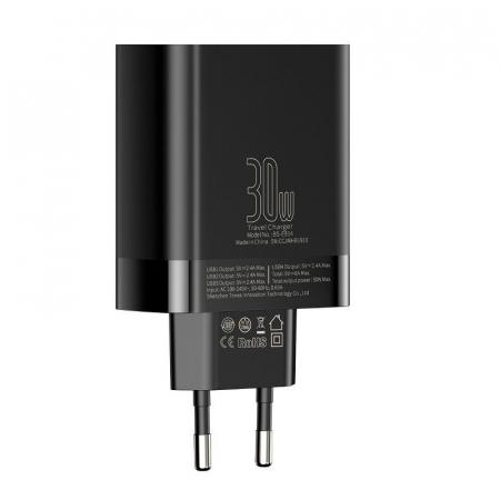 Incarcator retea Baseus 4 X USB, display LED, 30W, Quick Charge, Negru4