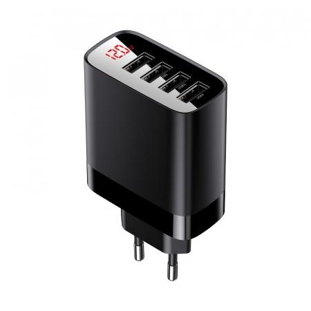 Incarcator retea Baseus 4 X USB, display LED, 30W, Quick Charge, Negru0