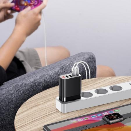 Incarcator retea Baseus 4 X USB, display LED, 30W, Quick Charge, Negru [5]