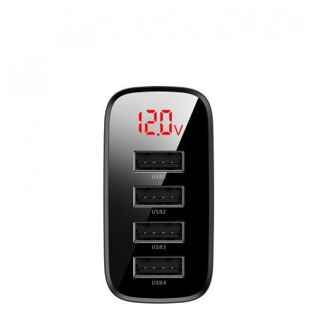 Incarcator retea Baseus 4 X USB, display LED, 30W, Quick Charge, Negru2