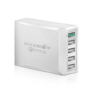 Incarcator Blitzwolf S7, 5 porturi, 40 Wati, 1 x QC3.0, 4 x Power 3S 2.4A, chip fast charging NT6008, EU, Alb0